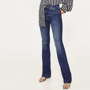 Zara High-Waist Bootcut Jeans in Samurai Blue 40 8